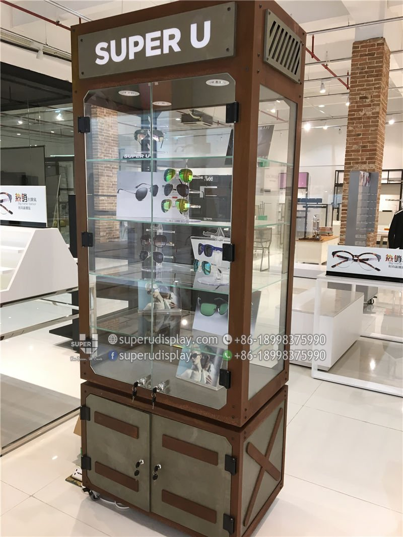 114c4174cc07 Custom Roasting Metal Glass Sunglasses Display Cabinet Stand with ...