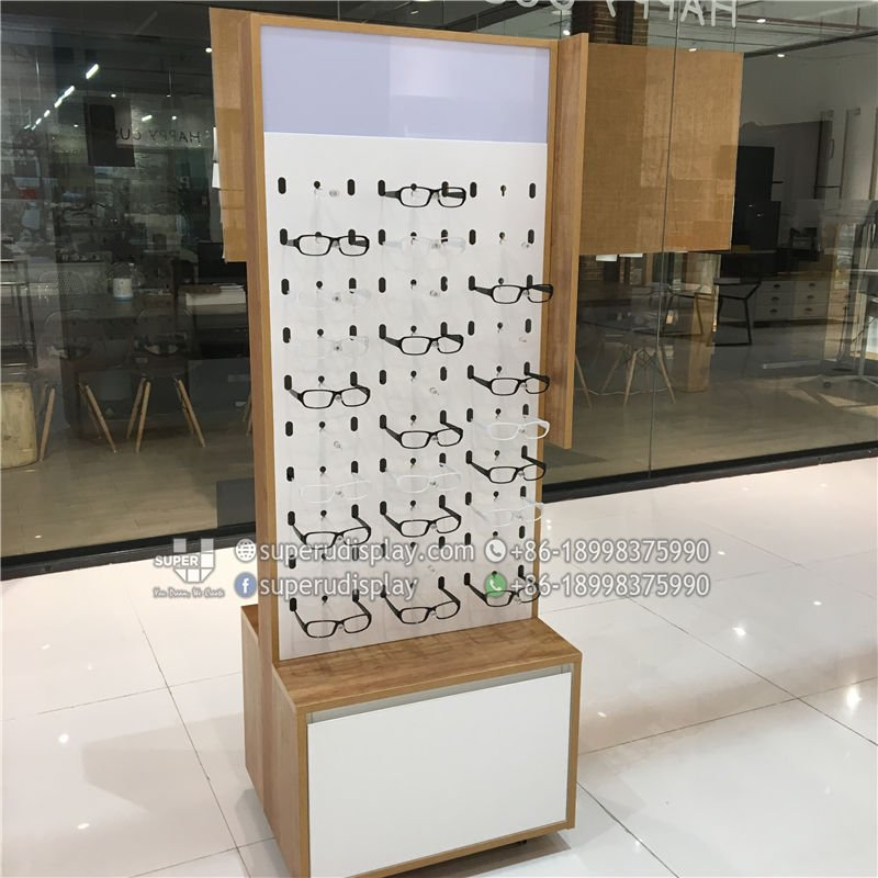 987e33452ce9 Mobile Wood Floor Stand Rotating Eyeglass Display Spinning Sunglasses Rack  with Storage