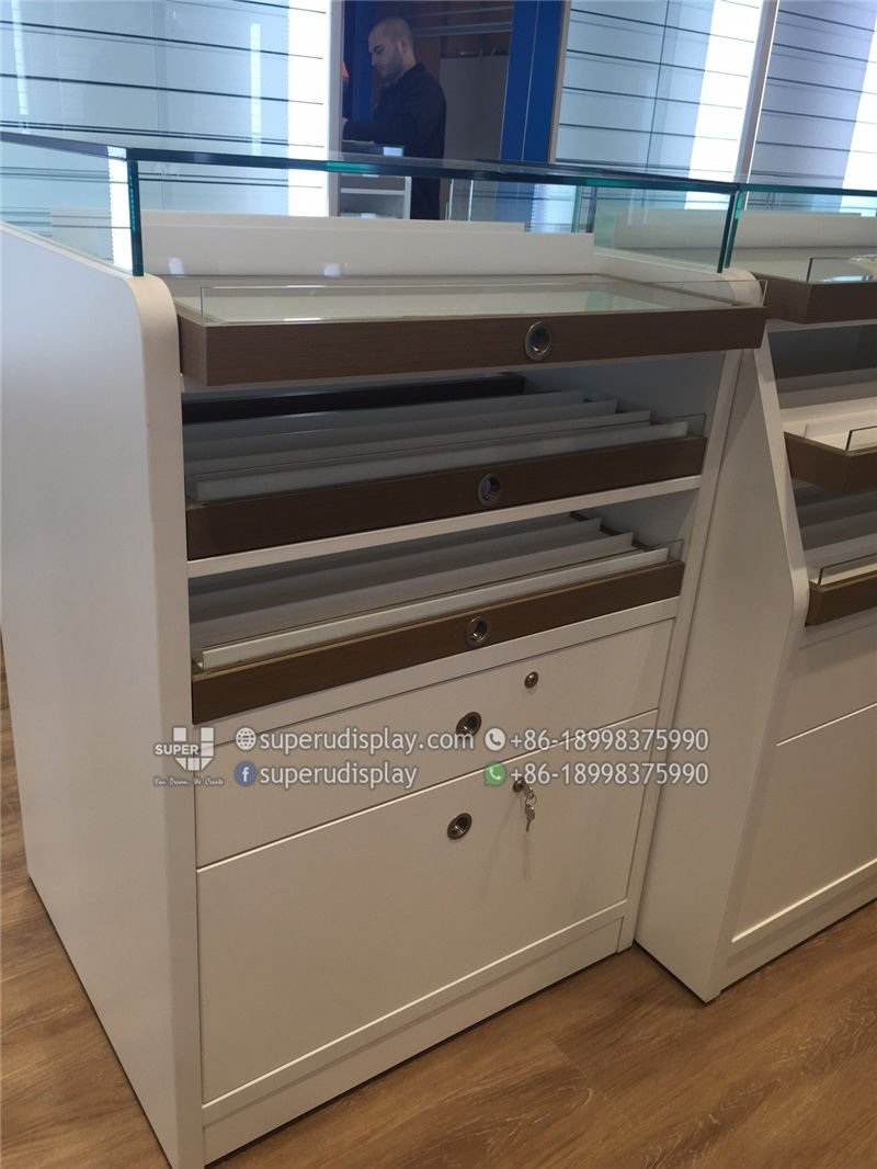 Custom Optical Display Cabinet Counter With Trays And